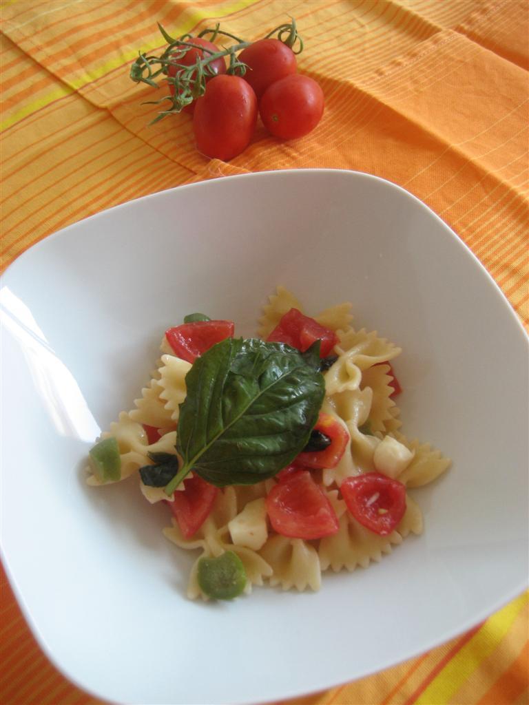Servire nei piatti l'insalata di pasta con fior di latte