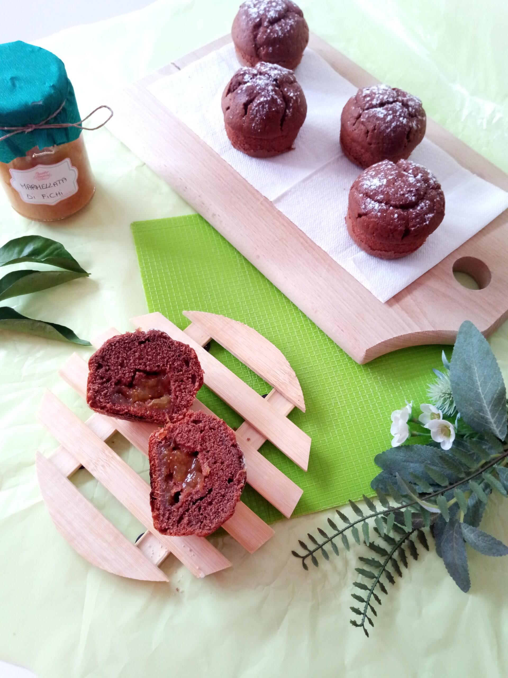 Muffins cacao e marmellata di fichi