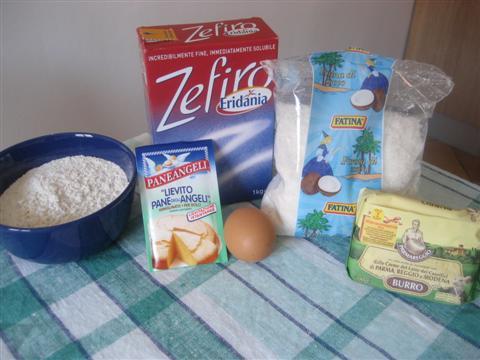 ingredienti per i biscotti al cocco