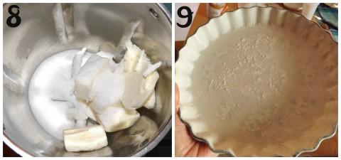 Adesso prepariamo la farcitura; mettere nel boccale il burro e lo zucchero e impastare per 1 minuto a vel.2 (foto8). Preparare una teglia inburrandola e infarinandola (foto9).