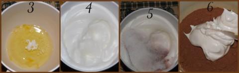 Con uno sbattitore elettrico montare gli albumi con il cremor tartaro a neve ben ferma (foto3-4). Unire lo zucchero semolato (foto5) e continuare a sbattere per altri 2 minuti. Versare il composto setacciato sugli albumi e incorporare il tutto dal basso verso l'alto aiutandosi con una spatola possibilmente in silicone e morbida (foto6).