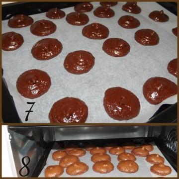 Trasferire la preparazione in un sac à poche con una bocchetta tonda e mettere i macarons in una teglia ricoperta di carta da forno. Lasciare asciugare per circa 30 minuti\1 ora all'aria (foto7). Cuocere i macarons in forno a 150° (foto8).