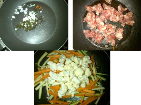 Iniziamo la preparazione del nostro primo ripieno, far rosolare la cipolla con un cucchiaio di olio, aggiungete il tastasal. Quando quest'ultimo sarà ben cotto aggiungete le verdurine tagliate a fiammifero. Coprire e cuocere per circa 15 minuti.