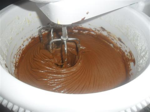Con un flullatore montare i rossi con lo zucchero e versare il cioccolato precedentemente sciolto. Mescolare per circa due minuti, aggiungere il latte, la farina con il lievito setacciati fino ad ottenere un impasto liscio e omogeneo. Unire poco alla volta gli albumi montati precedentemente a neve e mescolare delicatamente dall'alto verso il basso.