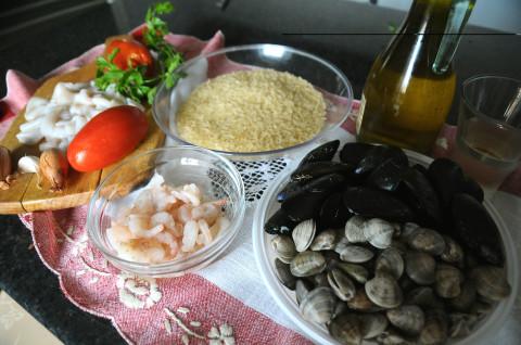 Ingredienti per il risotto ai frutti di mare