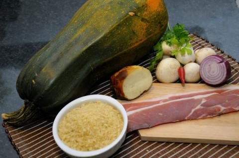 Risotto ai Funghi, Zucca,Provola e Speck ingredienti