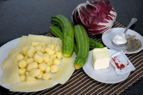 Gnocchi di patate, zucchine, zafferano e radicchio ingredienti