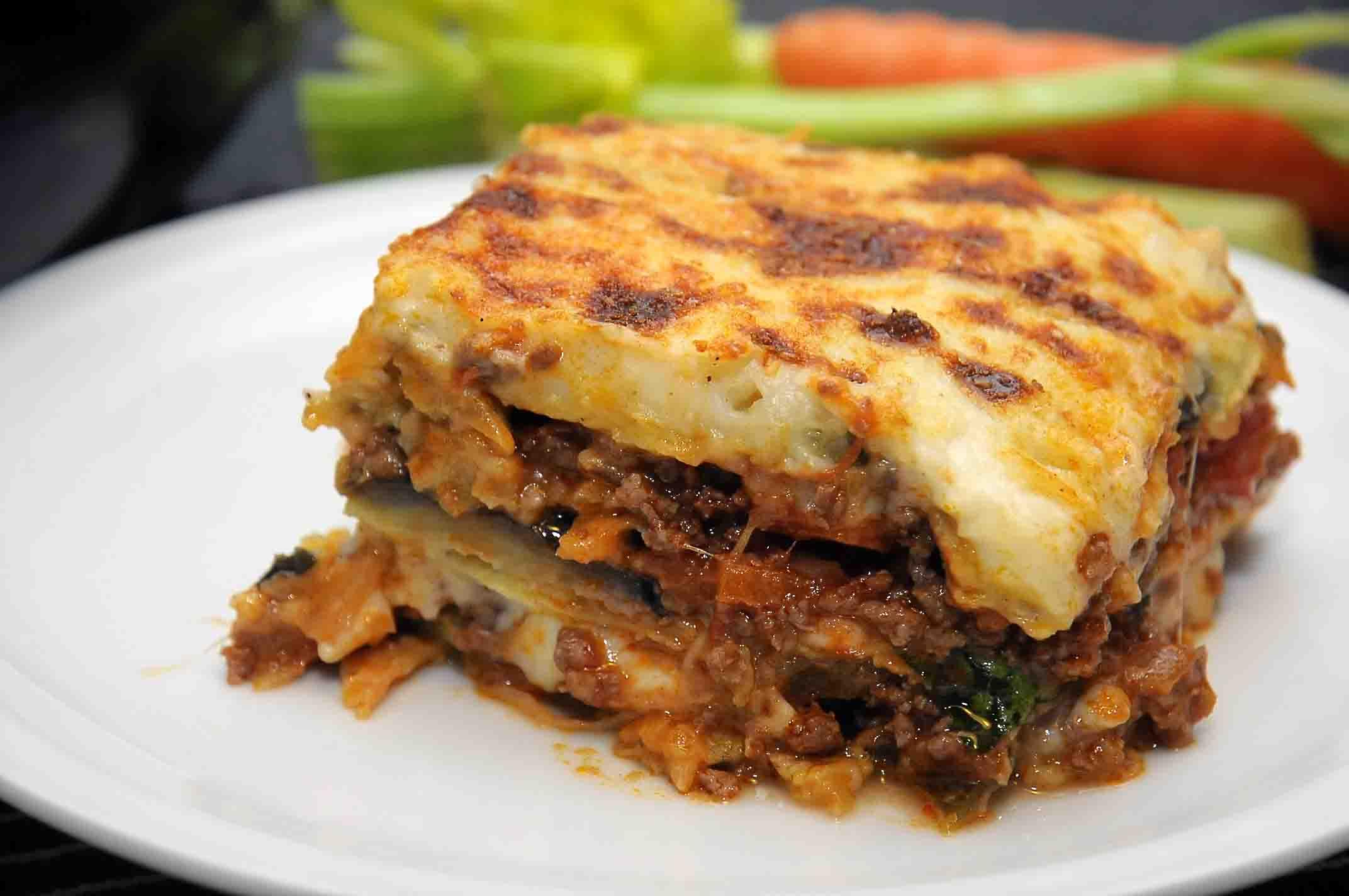 Popolare Ricetta Lasagne al forno di carnevale con melanzane e carne tritata YD29