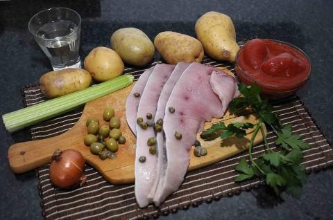 ingredienti del involtini di pesce spada con caponata di patate